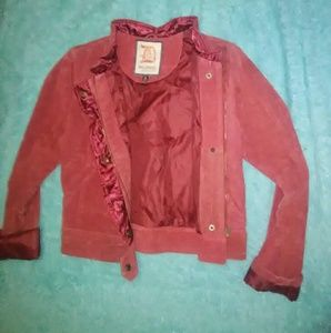 Size M Dollhouse Red Suede Ruffle Moto Jacket